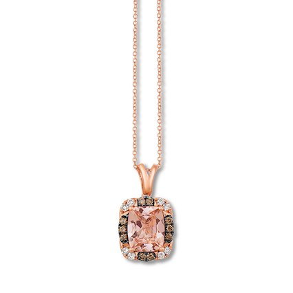 Jared, Le Vian Morganite Necklace 1/3 ct wt Diamonds 14K Gold
