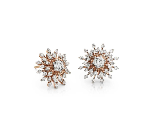 Sunburst Diamond Stud Earrings
