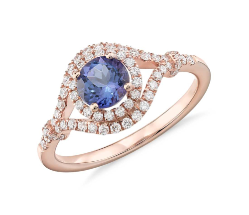 Tanzanite and Blue Nile, Diamond Halo Elegant Ring