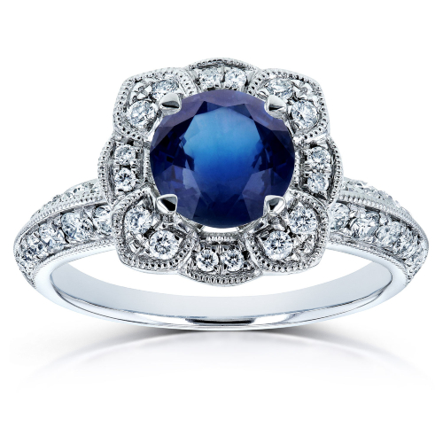 Blue Sapphire and Diamond Floral Engagement Ring 1 1/2 CTW 14k White Gold