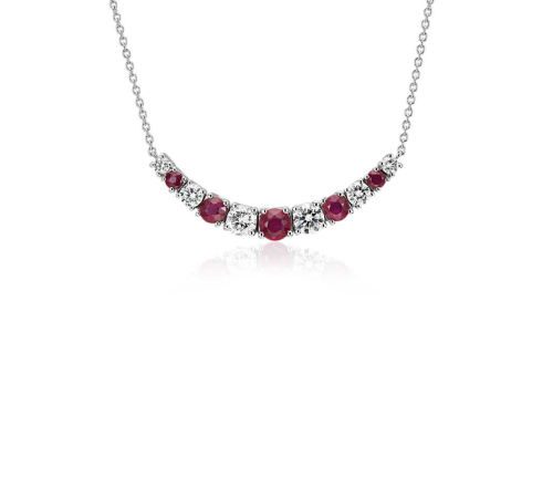 Graduated Ruby and Diamond Smile Necklace