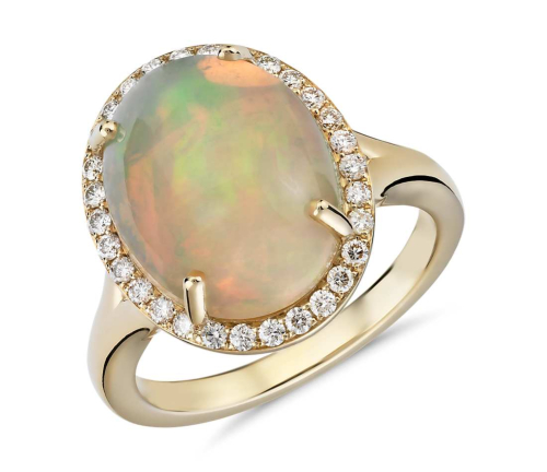 Opal and Diamond Halo Split Shank Ring