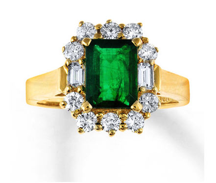 Natural Emerald Ring 3/4 ct tw Diamonds 14K Yellow Gold