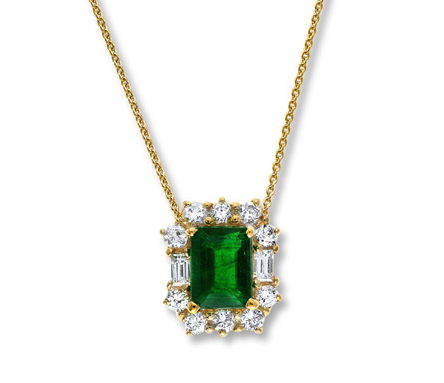 Natural Emerald Necklace 5/8 ct tw Diamonds 14K Yellow Gold