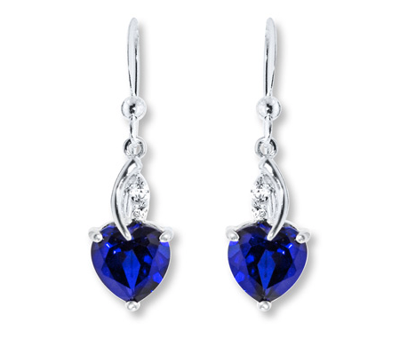 Lab-Created Sapphire Sterling Silver Earrings