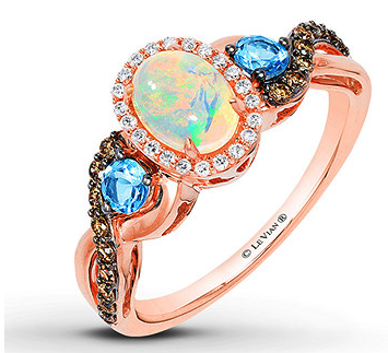 Le Vian Opal Ring 1/4 ct tw Diamonds 14K Strawberry Gold