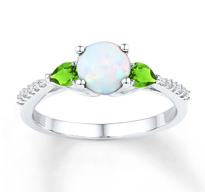 Peridot/Lab-Created Opal Ring 1/10 cttw Diamonds St Silver