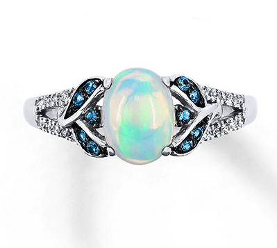 Natural Opal Ring 1/15 ct tw Diamonds 10K White Gold