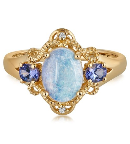 Opal, Tanzanite & Diamond Ring in 10K Yellow Gold