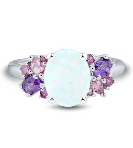 Lab-Created Opal, Amethyst, Pink Tourmaline & Rhodolite Garnet Ring in Sterling Silver