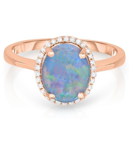 Opal & 1/10 ct. tw. Diamond Ring in 14K Rose Gold