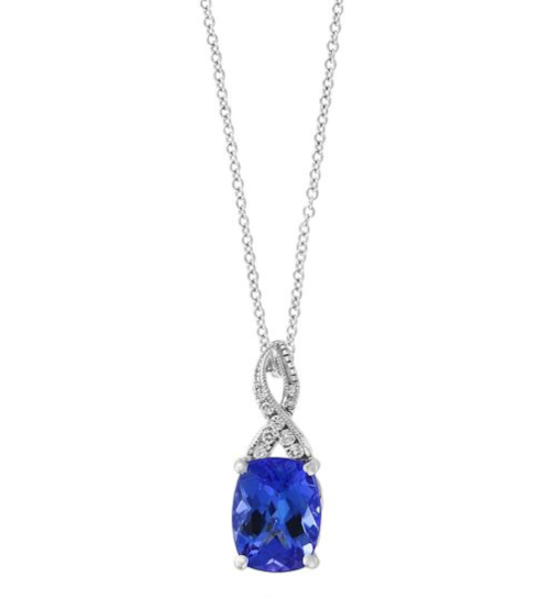 Helzberg, EFFY® Tanzanite & Diamond Pendant in 14K White Gold