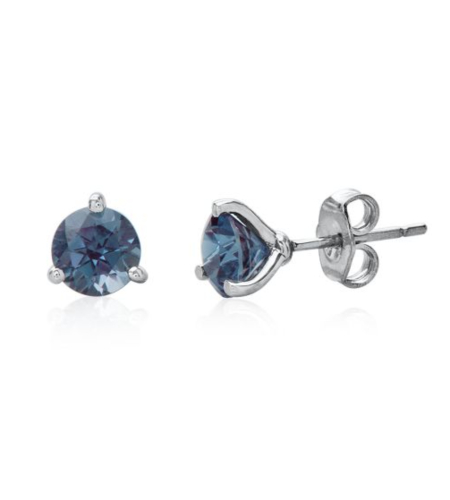 Lab-Created Alexandrite Martini Stud Earrings in Sterling Silver
