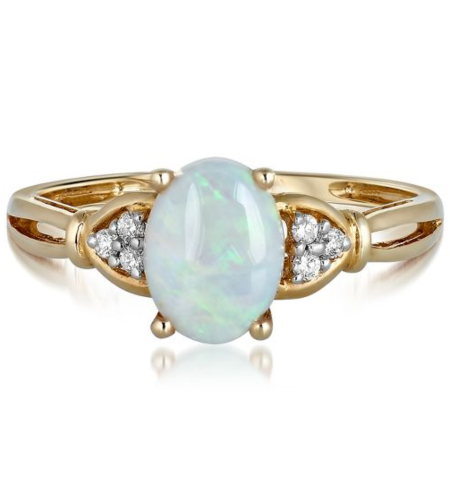 Opal & Diamond Ring in 10K Yellow Gold