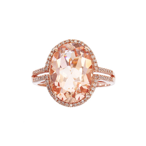 EFFY Morganite and 1/5 ct. tw. Diamond Ring in 14K Rose Gold