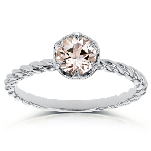 Kobelli, Morganite Twisted Solitaire Ring 1/2 CTW in 14k White Gold