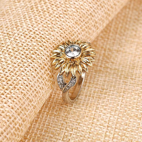 DALARAN Sunflower Cubic Zirconia Ring