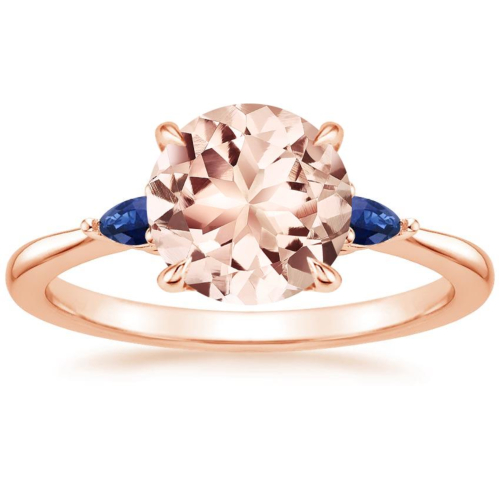 Rose gold Morganite Aria Ring with Sapphire Accents