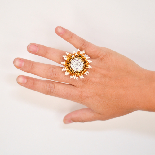 sunflower ring gold white