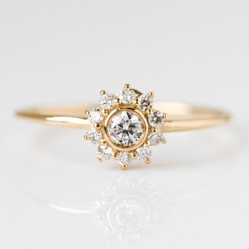 Local Eclectic, 14K Gold Diamond Sunflower Ring ($520)