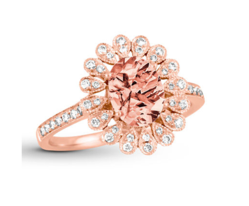 Morganite Ring 1/5 ct tw Diamonds 18K Rose Gold