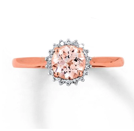 Jared, Morganite Ring 1/15 ct tw Diamonds 10K Rose Gold