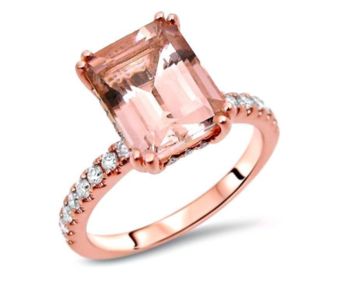 Front Jewelers, Rose Gold Morganite Engagement Ring